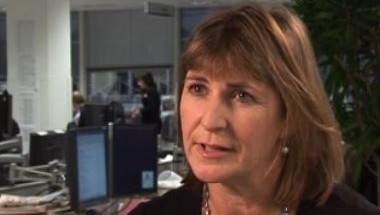Still from video of Niki Beattie talking to Jeremy Grant from the FT about HFT.